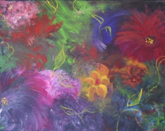 """Original Abstract  Oil Painting on Canvas """"Flower Power"""" 8"""" x 10"""" abstract flower art"""