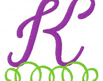 Summer Swirly Monogram Machine Embroidery Font Design Set // Joyful Stitches