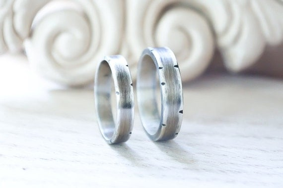 Wedding Band Set - Silver Bands - Rustic Sterling Silver - Oxidized Wide band - His and Hers - Hers and Hers - His and His - Personalized