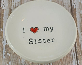 I heart my sister ceramic trinket dish, ring dish
