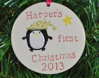 personalized Baby's first Christmas ornament penguin,  custom made to order, Christmas tree ornament, ceramic