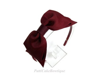First Day of School Burgundy Hair Bow Headband/Big Bow Headband for School Uniform/Hard Headbands/Girls Burgundy Headband/Toddler Headbands
