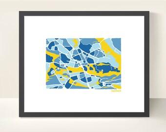 Stockholm Sweden City Map - original illustration print
