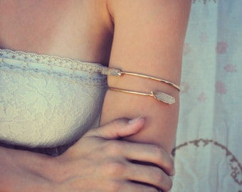 ARM BAND /// Upper Arm Cuff /// Lux Divine Double Quartz Point Gemstone Arm Wrap/// Gold or Silver