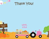 Pumpkin Patch Birthday Party Thank You Note Farm Birthday Thank You Pumpkin Farm Birthday Girls Fall Birthday Invitation