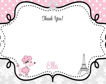 French Poodle thank you note  -   Paris  thank you note  -  Poodle thank you