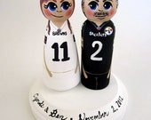 Wedding Cake Topper / Custom Painted Wood Peg Dolls/ Couple with Plaque/ Sports / Football