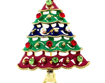 Multicolor Christmas Tree Pin Swarovski Crystal Christmas Pin Brooch 1011182
