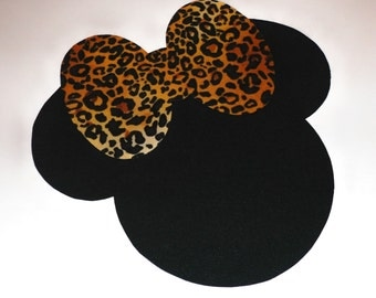 Iron On Fabric Applique MINNIE MOUSE With Leopard Print Bow