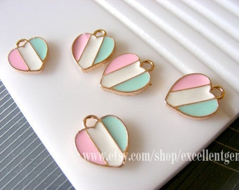 10 charm14k Gold three colors heart charms in pink,mint,white 10mm*12mm