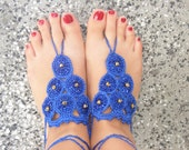 Lovely crocheted silk barefoot sandals in blue with golden pearls custom order for Dani