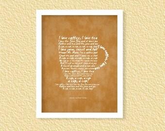 I Love Coffee Printable -8x10- Java Jive Song Lyrics Manhattan Transfer Tea Mug Coffee Cup Instant Download Digital Printable Poster Coffee