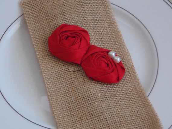 Christmas Table Decor Red Flower with Pearls Burlap Silverware Envelope Rustic Shabby Chic Holiday Decor