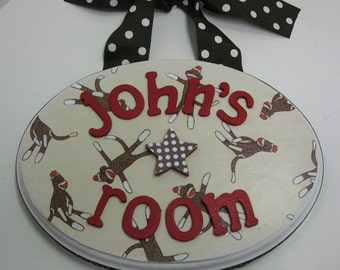 Little Boy Sock Monkey Name Room Plaque