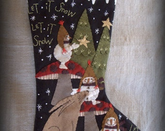 FINISHED PIECE Let it Snow Christmas Stocking by cheswickcompany
