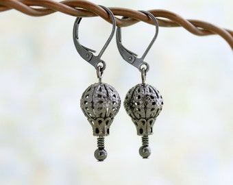 Black Victorian Style Hot Air balloon Earrings - gunmetal filigree beads - Goth balloon Earrings - hot air balloon jewelry