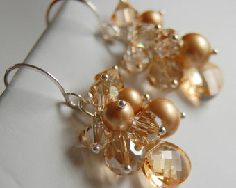 Champagne Bridal Earrings, Swarovski Crystal and Golden Pearl Cluster Earrings, Wire Wrapped Crystal Drop, Sterling Silver Earwires