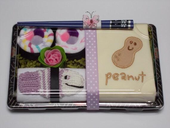 Baby Organic Onesie & Washcloth Sushi Girl Gift - Baby Shower Gift - Peanut