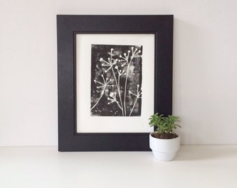 Botanical Naturalist Decor Linocut POSTER Black and White Flowers Print 8 x 10