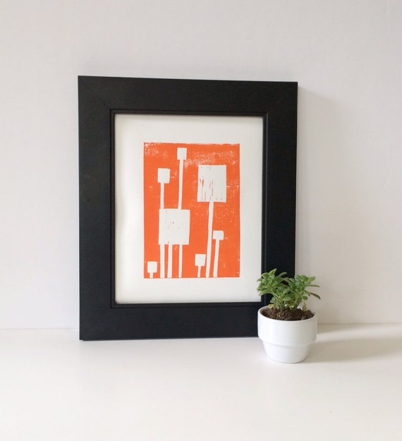 Linocut Mid Century Modern Art Print Bright Orange and White Squares 8x10