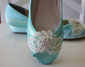 Lace Wedge Wedding Shoe - Choose From Over 200 Colors - Aqua Blue Wedding Shoes - Lace Wedding Wedge Bridal Shoe Wedding Wedge - Lace Shoe