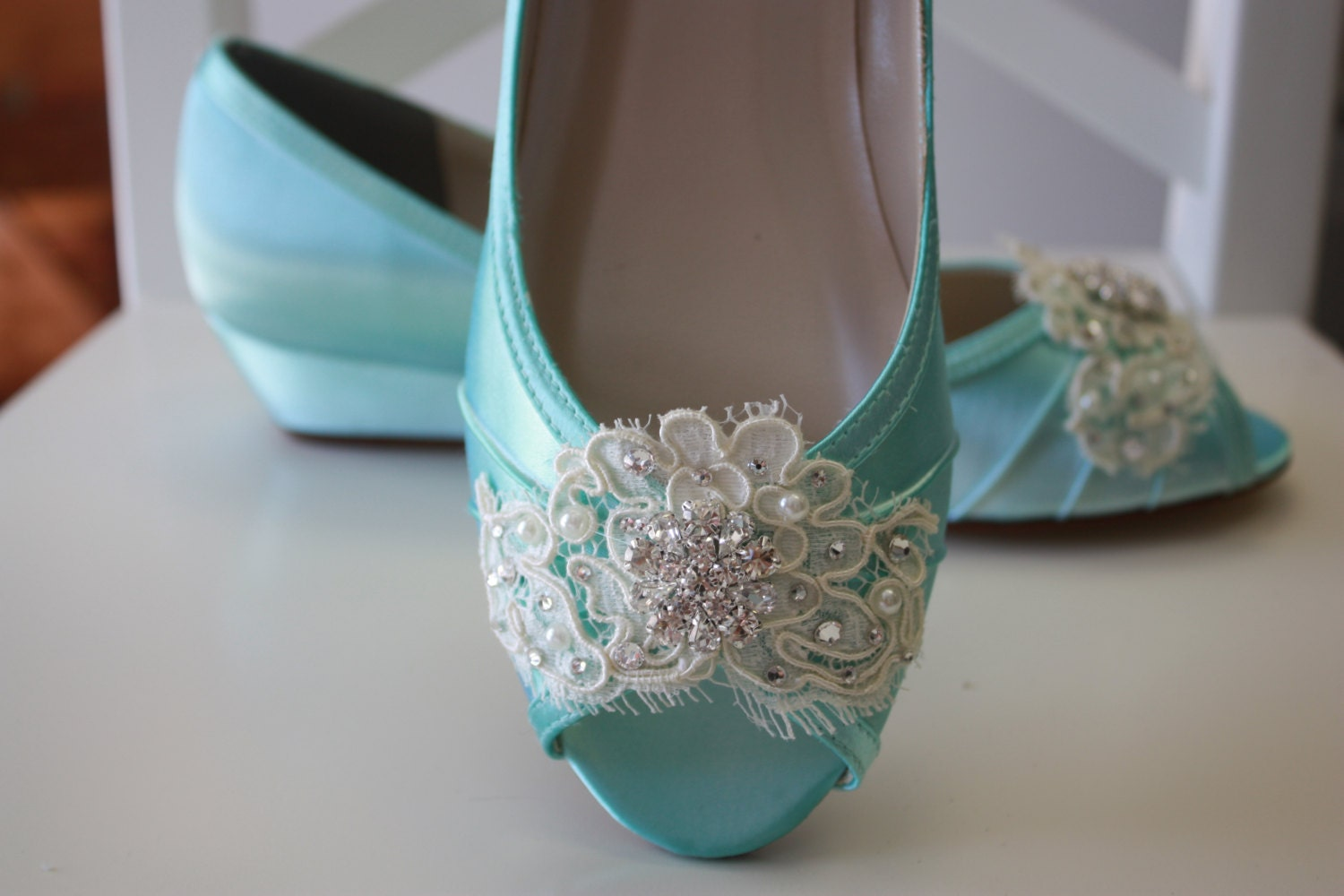Lace Wedge Wedding Shoe Choose From Over 200 Colors Aqua