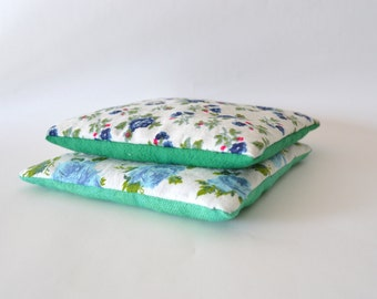 drawer scent floral lavender sachets in blue and green - floral aromatherapy - hostess gift - shabby decor - aromatherapy - lavender pillow