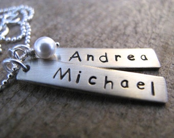 2 Thick Rectangle Bar Tags in Sterling Silver -  Personalize with your names - 6mm Pearl