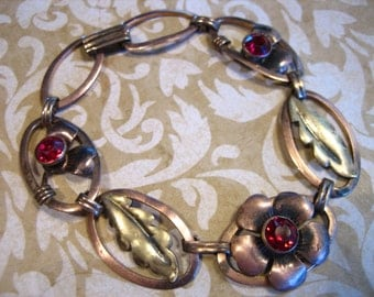 Art Deco Crosby Rose GF on Sterling Link Bracelet