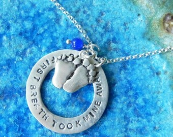 Personalized sterling silver baby foot print pendant necklace with name or date and birth stone new mom gift shower gift little feet