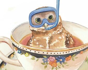 Owl Print - Watercolor Painting, Art Print, Teacup Watercolour, Scuba Diving, 5x7 Print