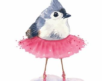 Ballet Bird Watercolor Print - Tufted Titmouse, Ballet Art, 5x7 Illustration