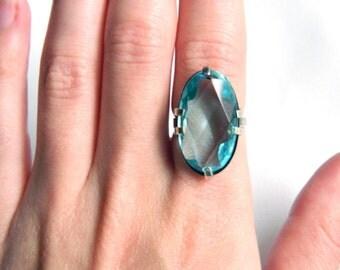 Antique Vintage Sterling Silver Blue Topaz Ring - 12 Carat Oval Cut - Adjustable - Uncas - Estate Piece