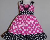 Custom Boutique Clothing  Minnie mouse Med Pink  Sassy Girl Dress