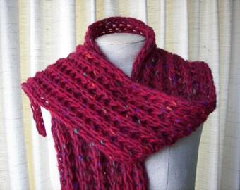 HAND Knit Chunky Rib Textured Scarf in 100% IRISH Roving Wool