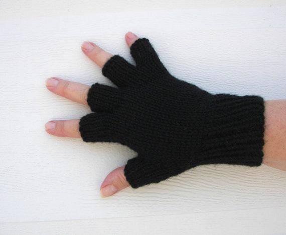 Half Finger BLACK virgin WOOL GLOVES Knitted by Hands