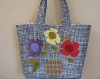 Tote Bag, Black and White with Wool Flowers