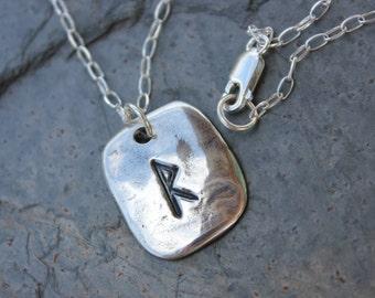 Rectangular rune necklace- Handmade Elder Futhark Rune- personalized runic symbols or initials - large rune - free shipping usa