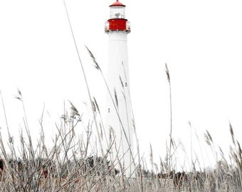 Cape May Photography-New Jersey Photography-Coastal Wall Art-Lighthouse Photography-Red & White-Vertical Wall Print-Nautical-Beach Decor