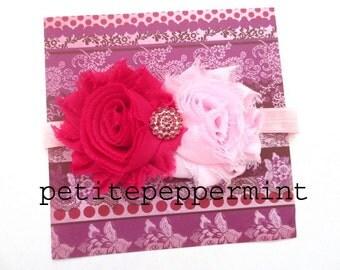 Baby headband, baby flower headband, baby hair bow, Pink Baby Head Band - Hot Pink and Pink shabby baby headband