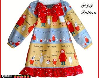 Amelia Peasant Dress pattern + Free Mother-Daughter Apron Pattern, Girls Dress Patterns, Children's Sewing Pastterns, pdf, baby, toddler