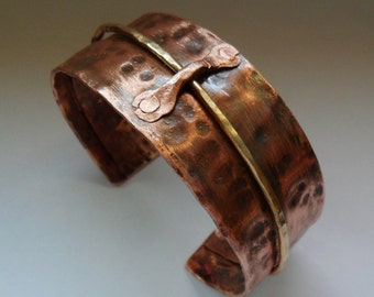 Mens Hammered Copper Cuff, Womens Hammered Copper Cuff, Hammered Copper Cuff Bracelet with Brass Wire