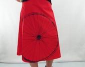 Bike Art Print Skirt - Aline Cotton Skirt - Silk Screen Printed to Order