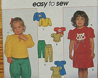 Toddler's, Girls, Children's, Easy To Sew Knit Dress, Top, Skirt, Pants, Cat and Star Appliques, Simplicity 7886 Pattern UNCUT Sizes 2, 3, 4