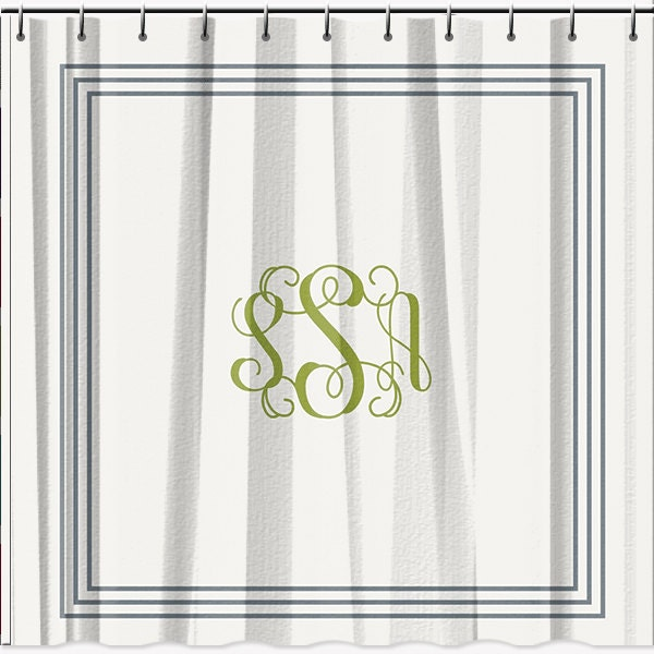Classic Monogrammed Shower Curtain 70x90 by LimeRikeeDesigns