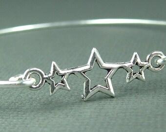 Star Bracelet, Star Bangle, Star Jewelry , Patriotic Jewelry, Patriotic Bracelet , Gift For Her , Birthday Gift