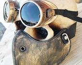 STEAMPUNK MASK - 2 pc. set of Gold - Brass Distressed Look Steampunk Dust Riding Mask with Steampunk Goggles - Burning Man Mask