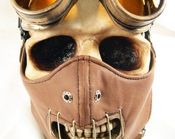 2 pc. set Brown Distressed-Look Hannibal Lecter Steampunk Dust Riding MASK with Matching GOGGLES - A Burning Man Must Have