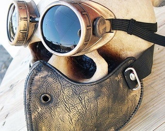 STEAMPUNK MASK - 2 pc. set of Gold - Brass Distressed Look Steampunk Dust Riding Mask with Steampunk Goggles - Burning Man Mask