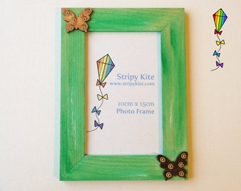 Wooden Picture Frame - Spring Butterfly Green Photo Frame
